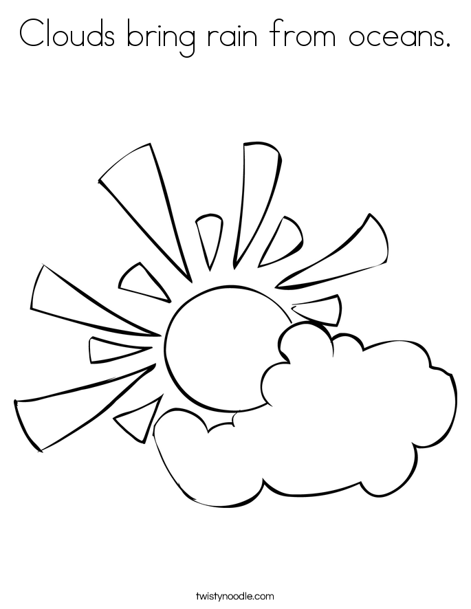 Drawn clouds colouring Page rain bring clouds noodle