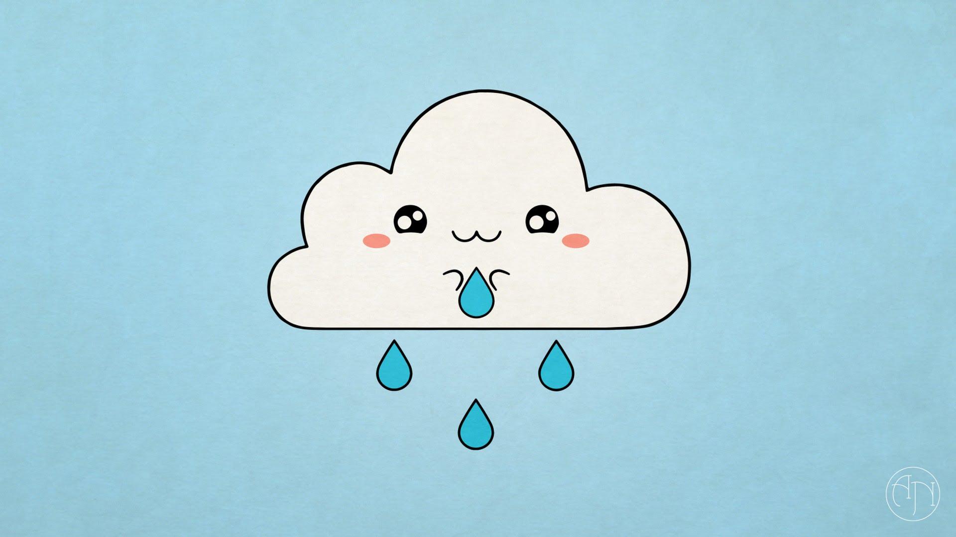 Drawn clouds cute cartoon Draw] A To Cloud To