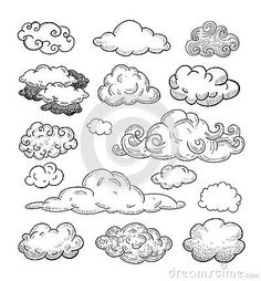 Drawn clouds doodle Drawn Drawn Hand Stock Vector