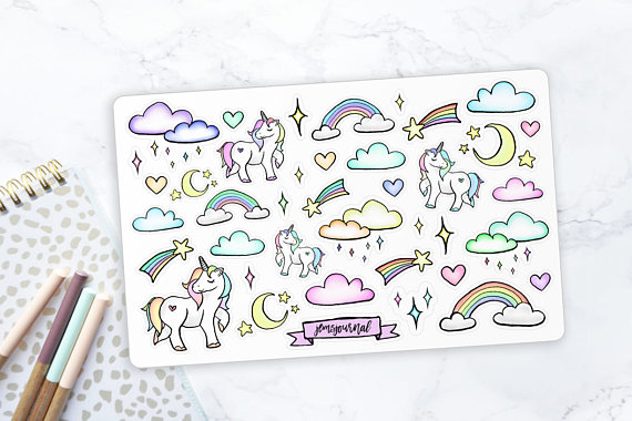 Drawn clouds illustrated & STICKERS Supplies ILLUSTRATED for