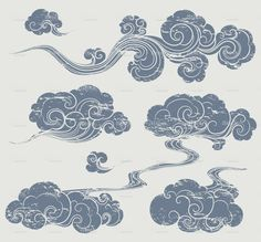 Drawn smoke chinese Google stock cloud squetch vector