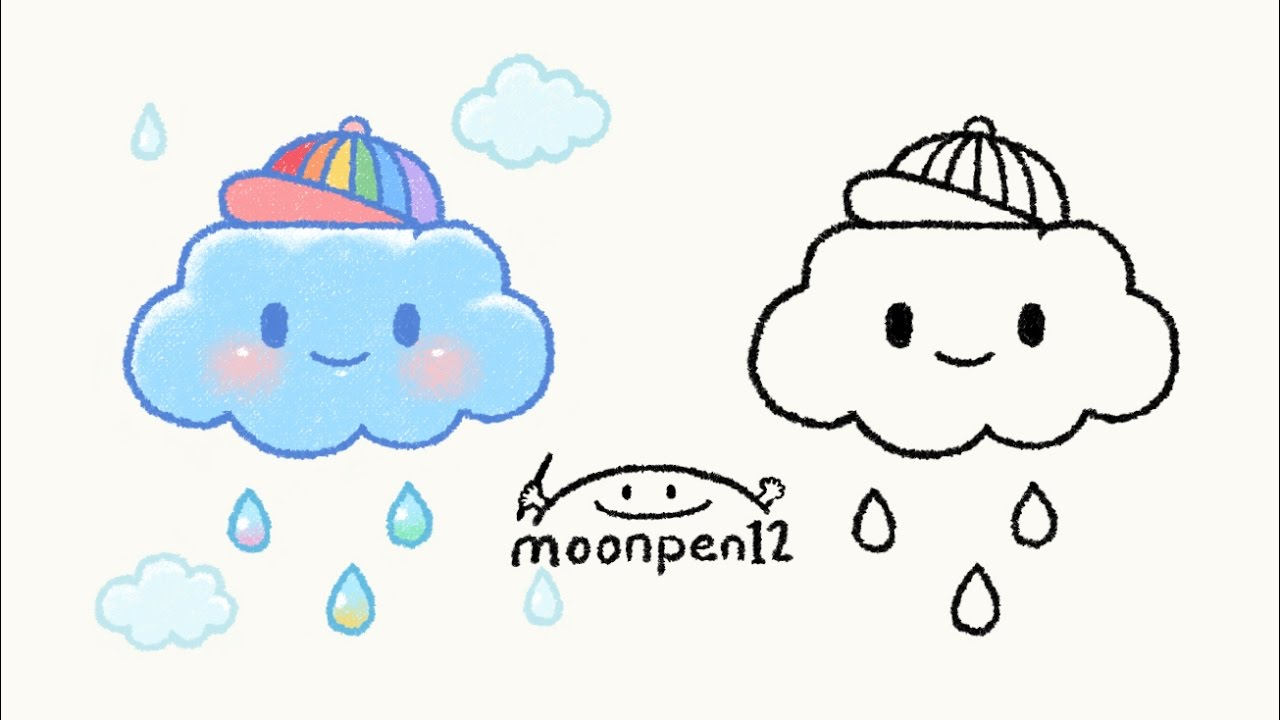 Drawn clouds rain drawing Cute Draw Cloud YouTube Cute