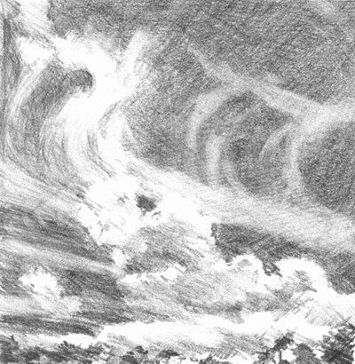 Drawn clouds shaded Sketch in cloud Pencil to