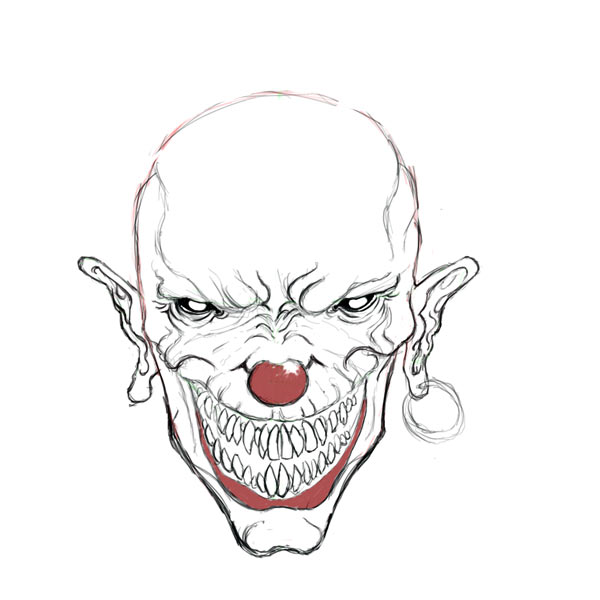 Drawn ssckull nose Drawings Evil – Drawing clown