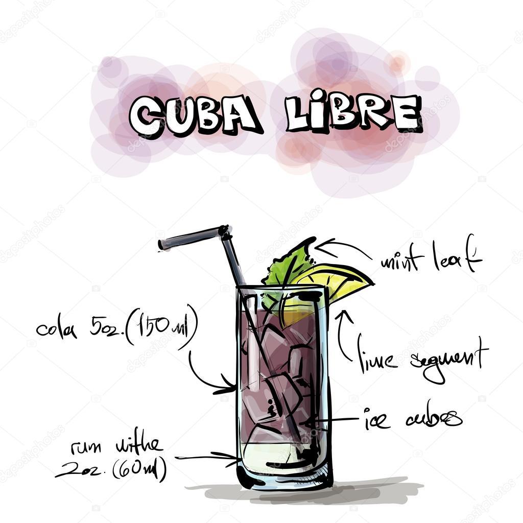 Drawn cocktail Drawn Cuba #34236457 illustration Vector