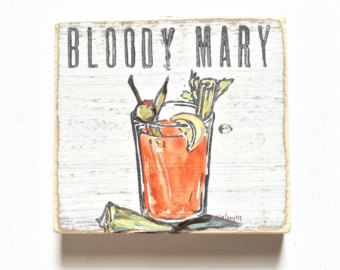 Drawn cocktail Mary: Tailgate Wood Gift Art