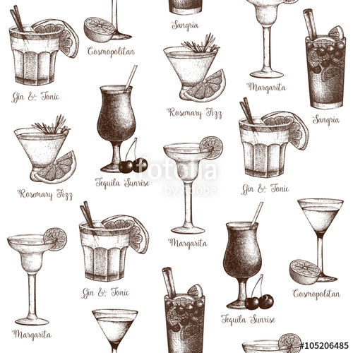 Drawn cocktail Seamless Vector cocktails drawn pattern