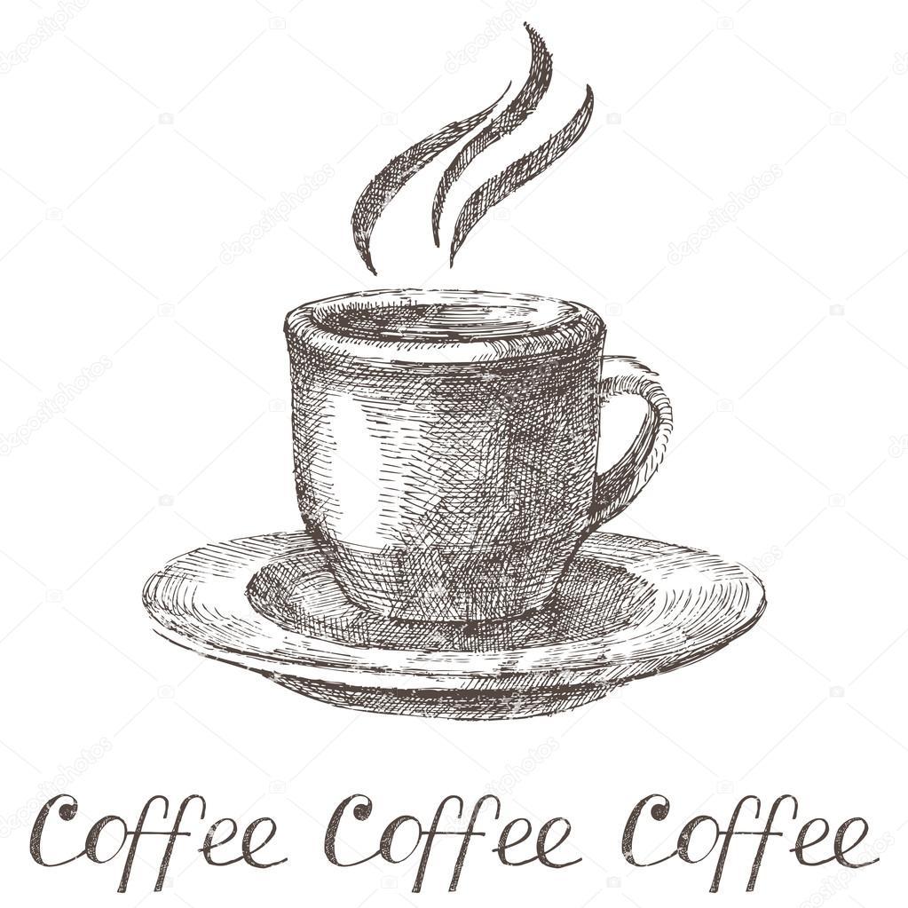 Drawn coffee Vector — — drawn Hand