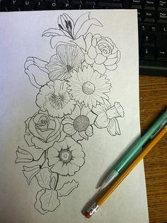 Drawn collage flower #7