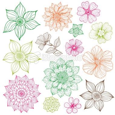 Drawn collage flower #11