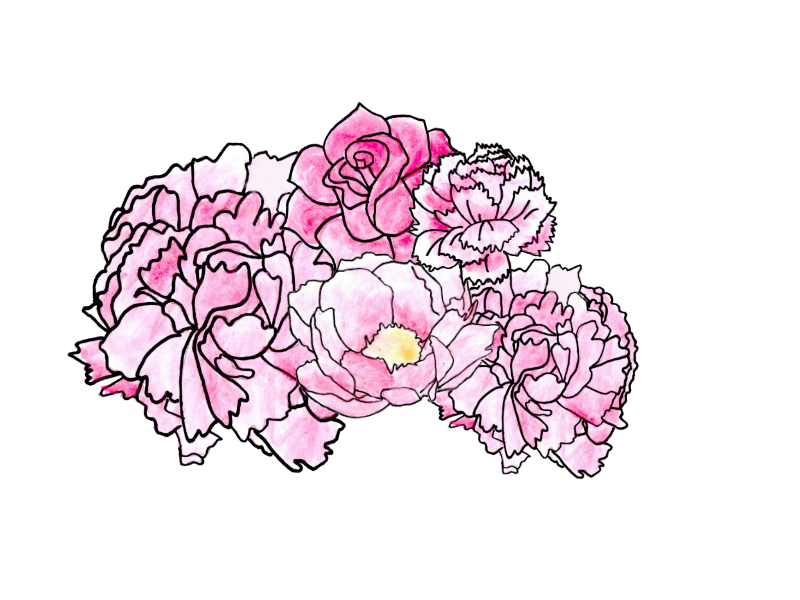 Drawn collage flower #6