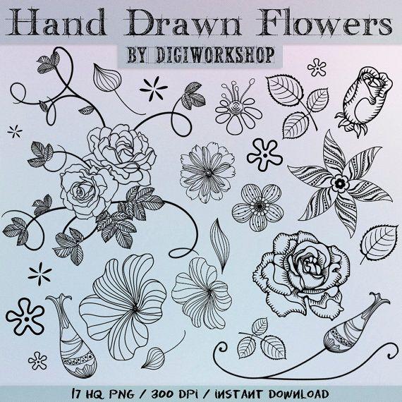 Drawn collage flower #8