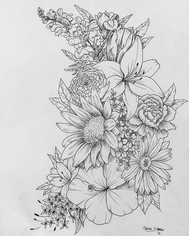 Drawn collage flower #10