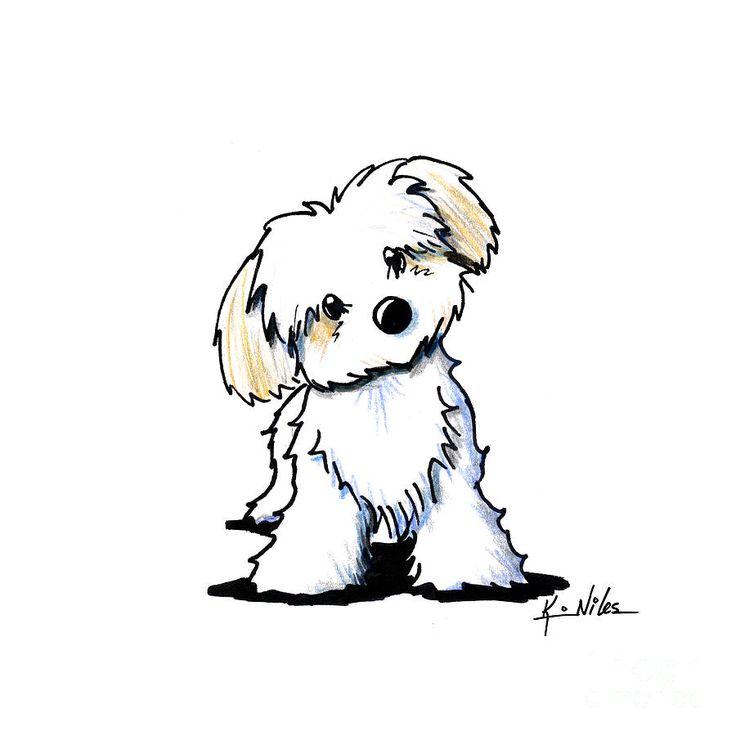 Drawn puppy small Dog Quizzical Cute DrawingCartoon on