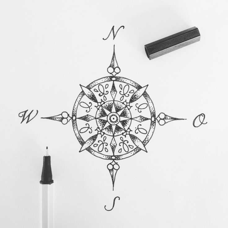 Drawn compass cartography Persone 81 Compass on a