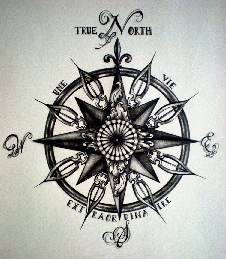 Drawn tattoo moral compass #1