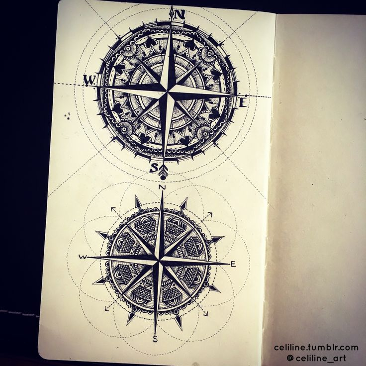 Drawn compass french On Zen  tattoo Doodle