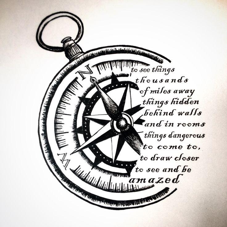 Drawn tattoo moral compass #2