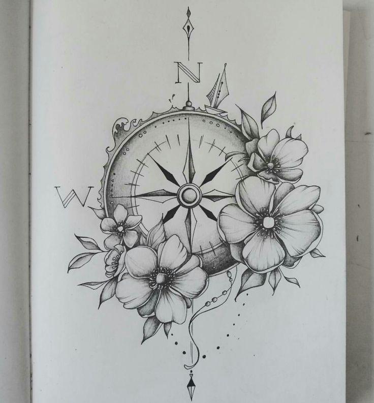 Drawn compass intricate Tattoo drawing  Pinterest 25+