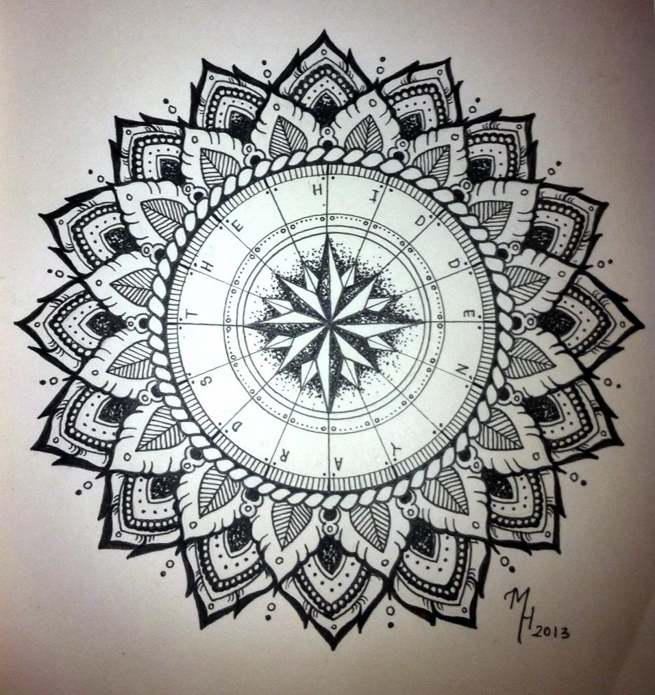 Drawn compass intricate Mandala for Designs Mandala Compass