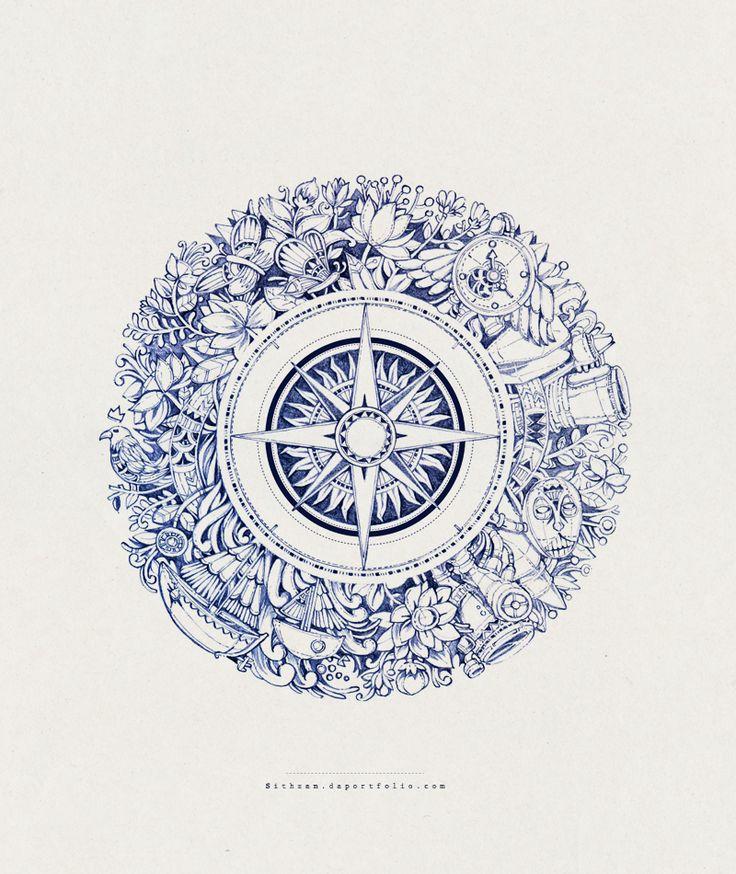 Drawn compass intricate Com Compass Rose on 50