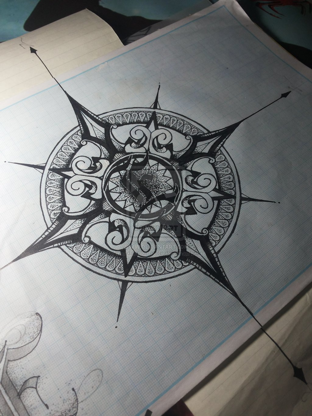 Drawn compass intricate For  life on Mandala