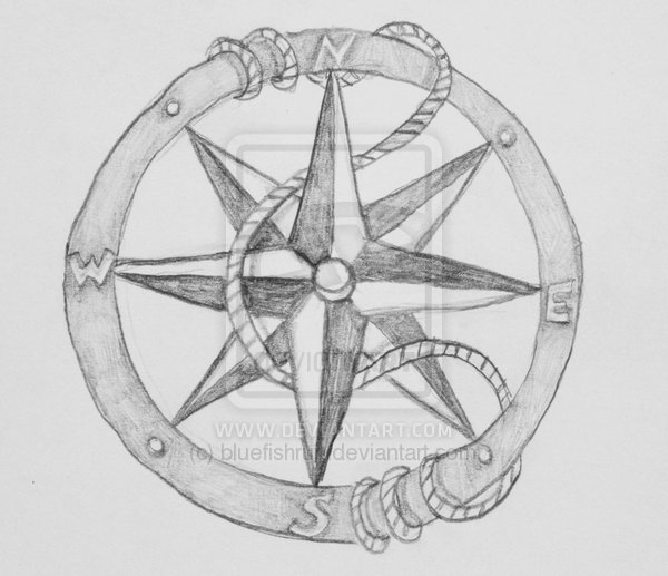 Drawn compass navigational Drawing Compass Tattoo Compass Drawing