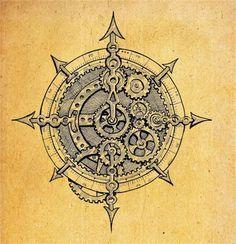 Drawn compass navigational Dessin character Owl Compass hair