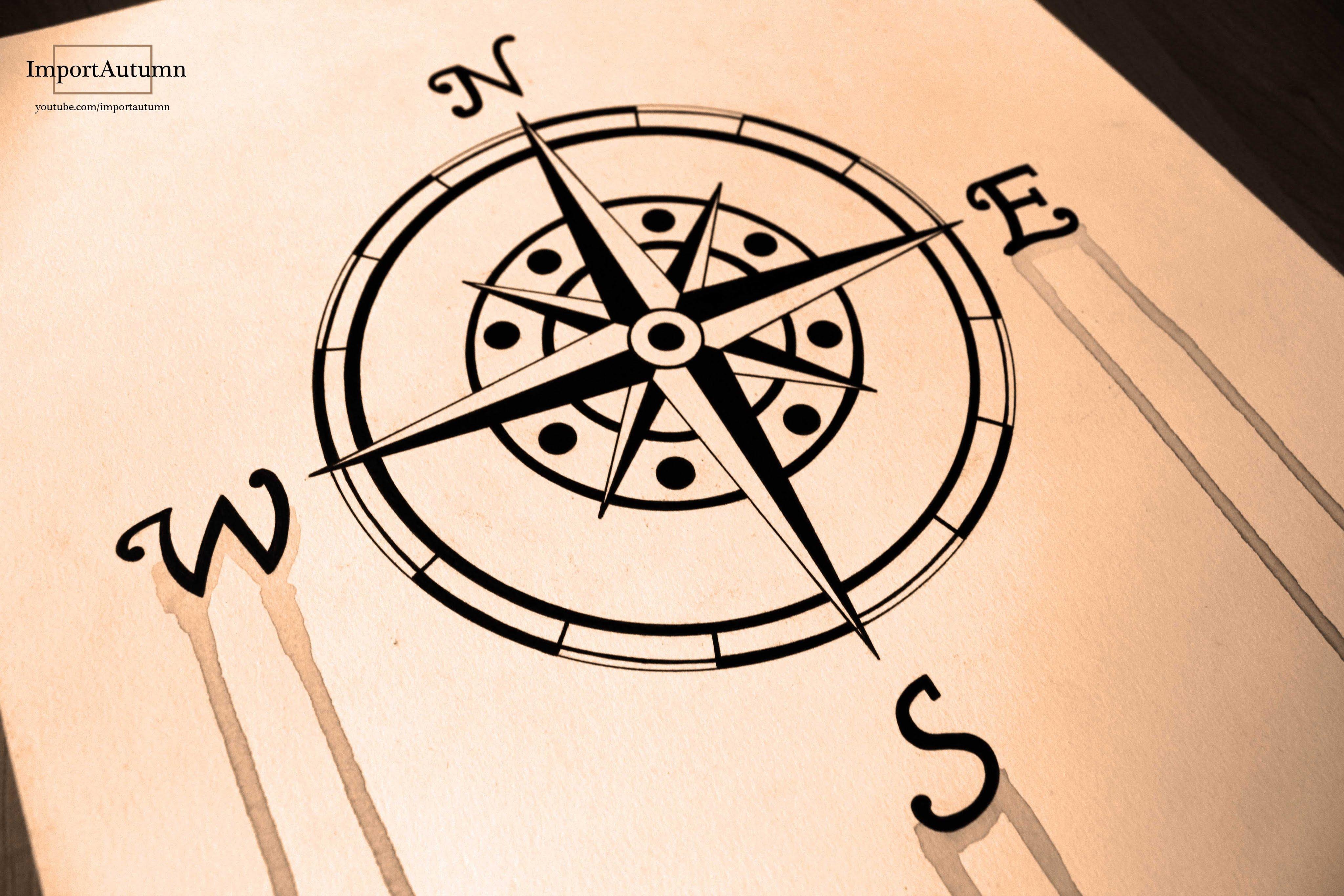 Drawn compass navigational (Naval Watercolour  Compass Compass)