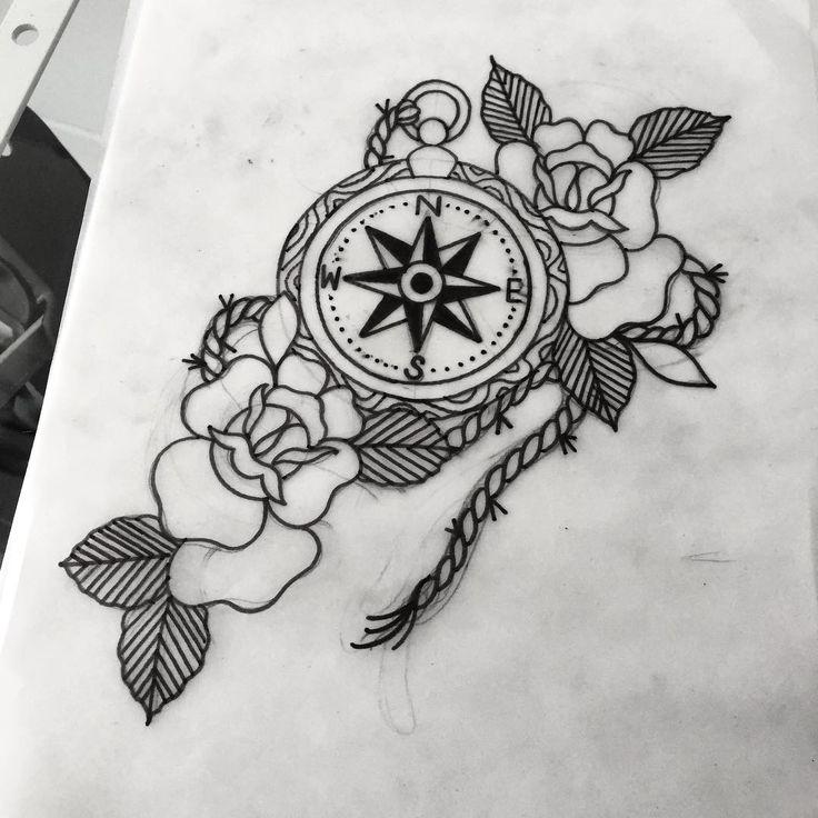 Drawn compass old school  tattoo Best ideas 25+