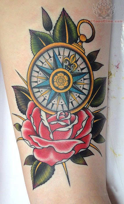 Drawn compass old school Compass On And Tattoo traditional