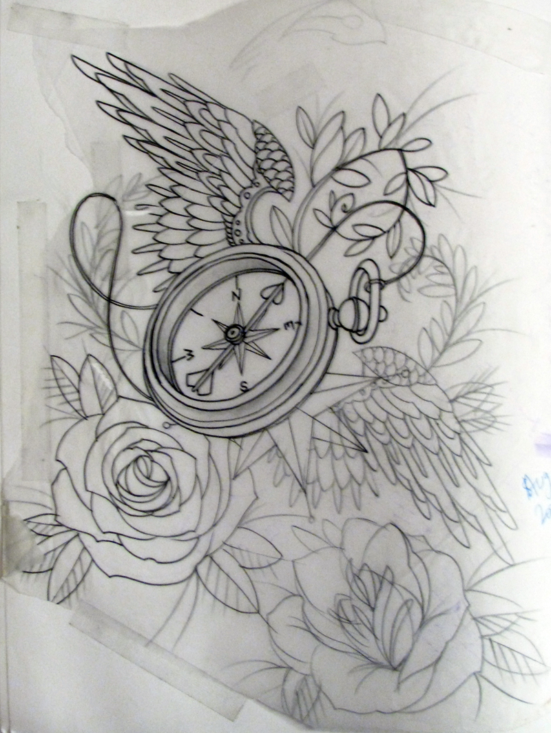 Drawn compass old school And pearls cage beautiful compass