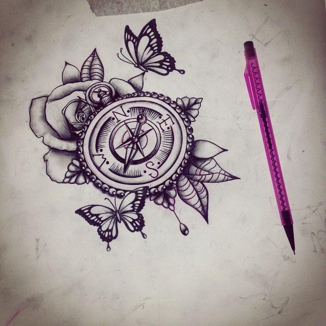 Drawn tattoo moral compass #5