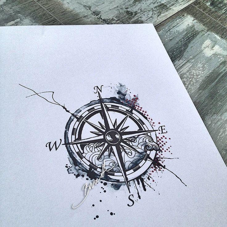 Drawn compass roman Compass trash watercolor Compass on