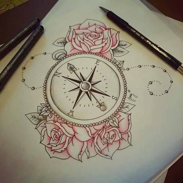 Drawn compass roman Tattoo  l o g
