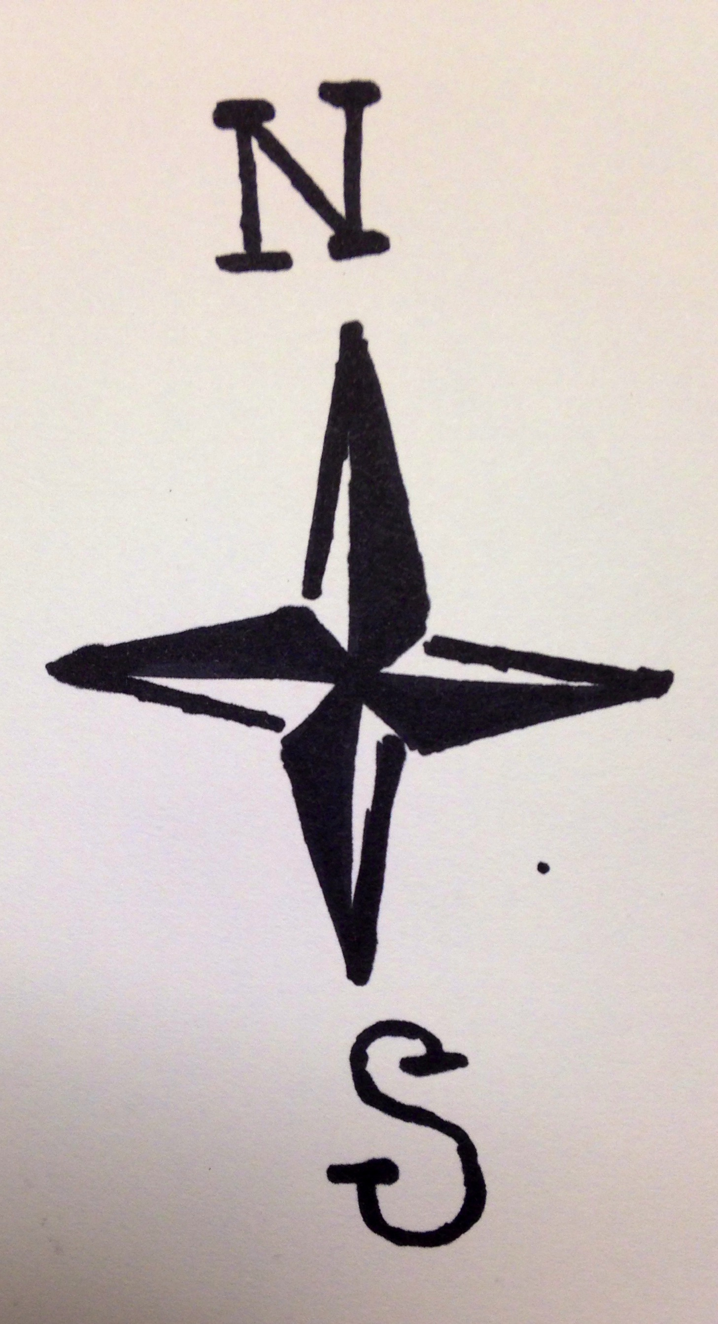 Drawn compass simple Ink and Simple compass