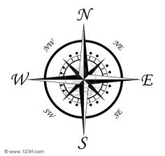 Drawn compass simple black Old all Vector the are