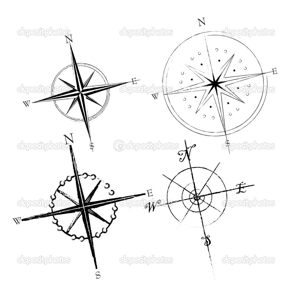 Drawn compass simple black Illustration: Compass Pinterest tattoos Illustration: