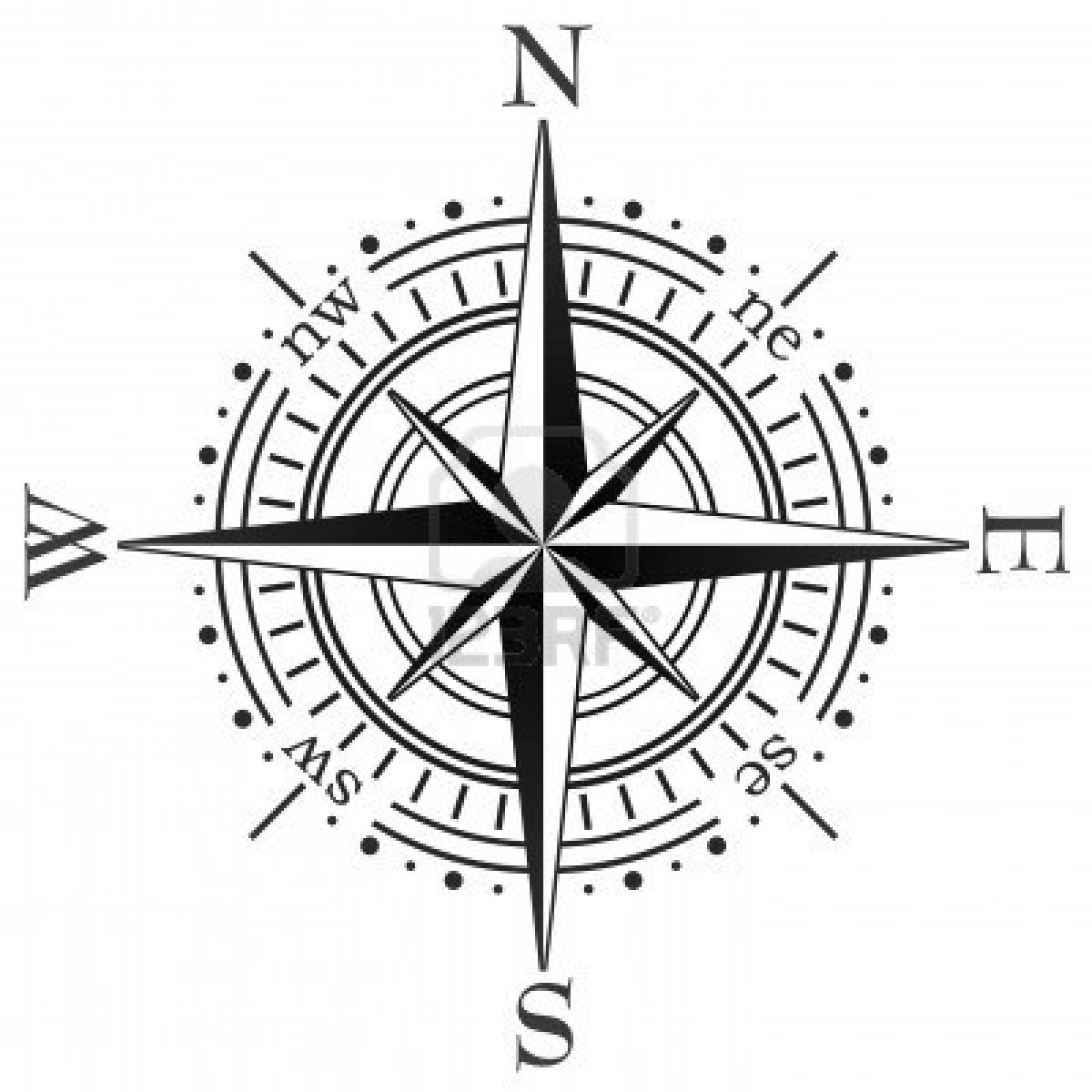 Drawn compass simple black Pinterest compass and Tattoo vector