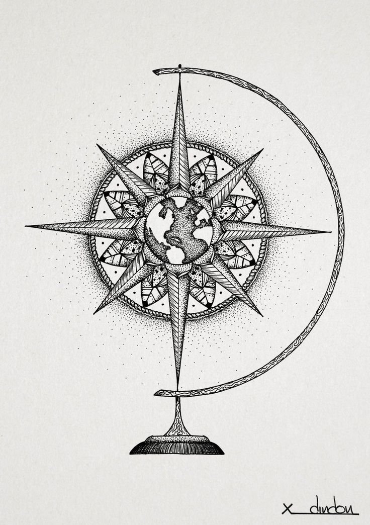 Drawn compass tree life On globe  Compass Best