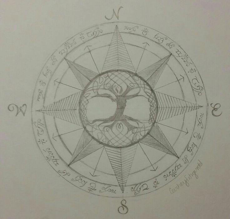 Drawn compass tree life 262 of on tattoo Pinterest