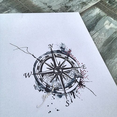 Drawn compass tribal Tattoo compass Compass watercolor drawing