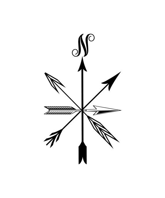 Drawn compass tribal Compass  Decal Name DrawingNautical