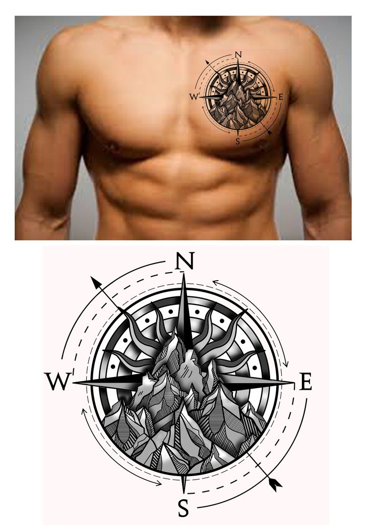 Drawn compass tribal On Chest Mountain tattoo Compass