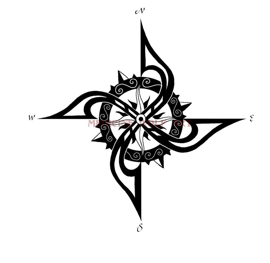 Drawn compass tribal Tribal tattoo Pinterest compass tribal