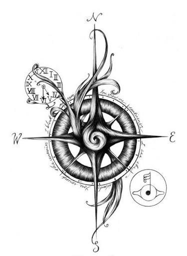 Drawn tattoo moral compass #3