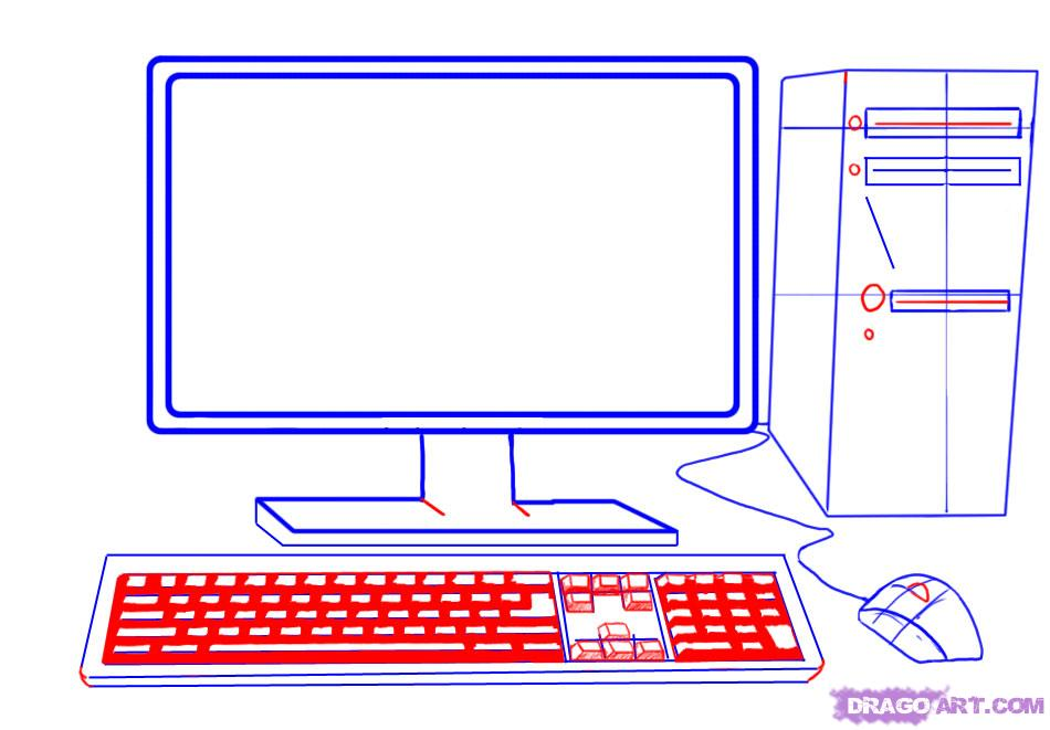 Drawn computer Mouse 3 step Draw Screen