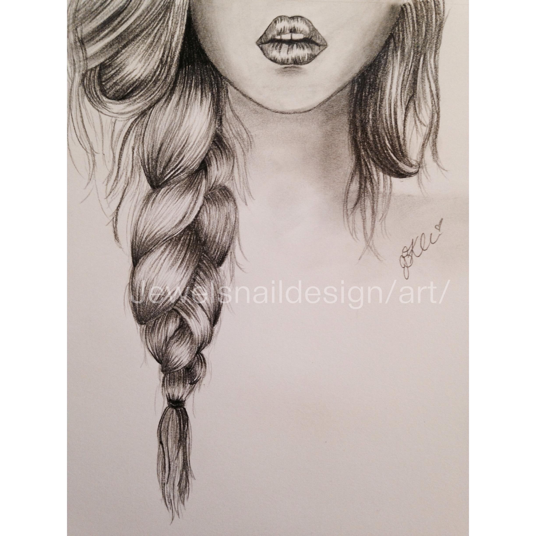 Drawn braid art hair Lips sketch Braid & and
