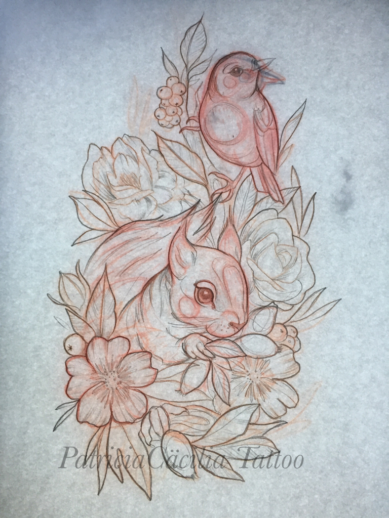 Drawn brds traditional By Rose flower Rose By