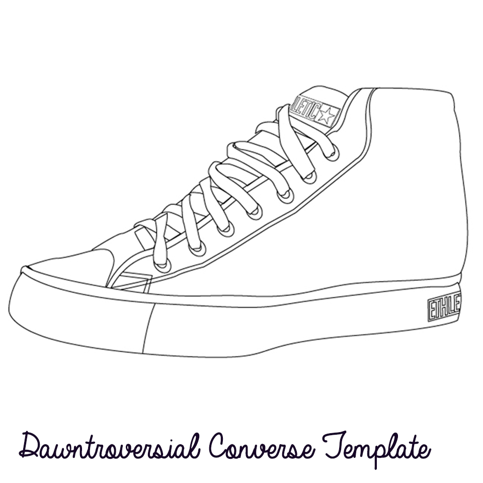 Drawn shoe converse Converse to template to com